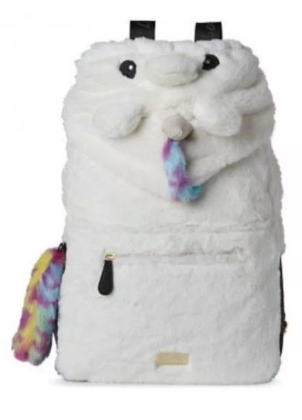 Luv Betsey Johnson Unicorn Backpack Hoodie Furry School Bag Anime