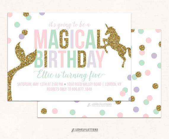 Mermaid And Unicorn Birthday Invitation   Mermaid Birthday