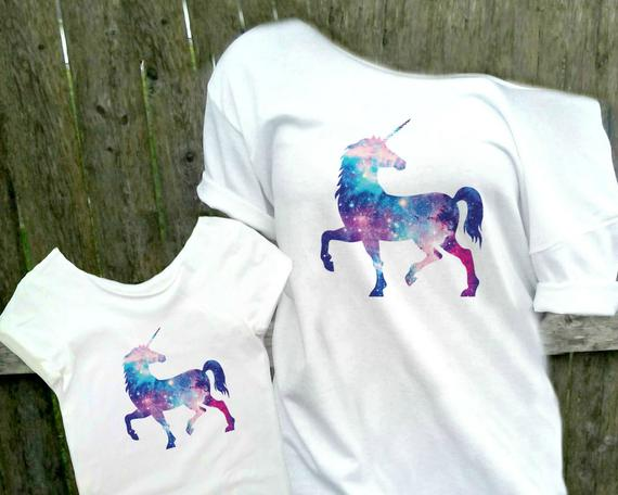 Mommy And Me Girls Unicorn Shirts Mother Daughter Matching
