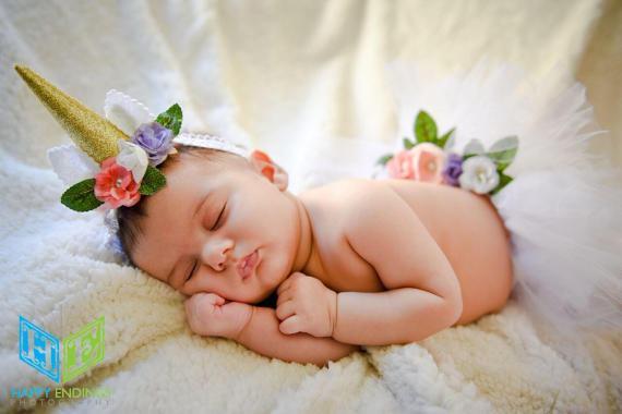 Newborn Baby Unicorn Horn, Unicorn Headband, Newborn Photo Prop