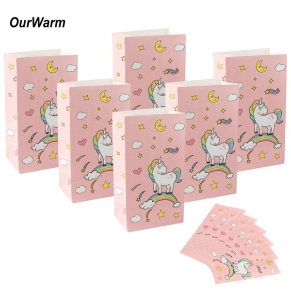 Ourwarm 36pcs Unicorn Gift Bags Wrapping Supplies Kraft Paper Bag