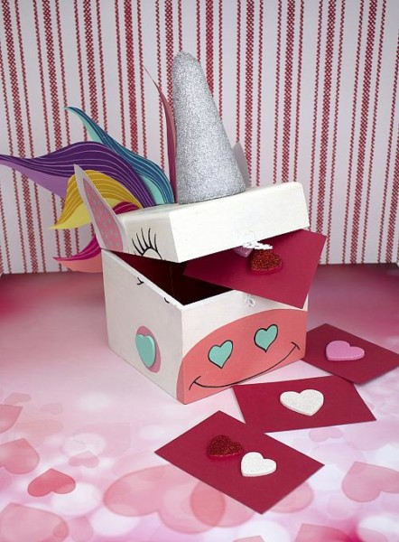 Painted Unicorn Valentine Card Box