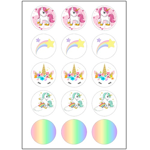Pastel Unicorn Cupcake Toppers