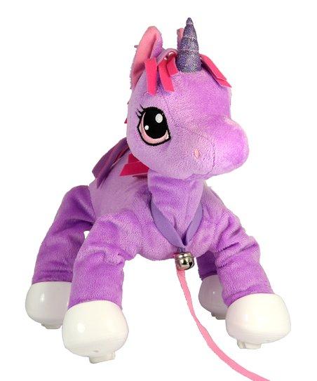 Peppy Pups Purple Unicorn Walking Plush Toy