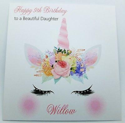 Personalised Birthday Card, Unicorn Face Handmade Daughter
