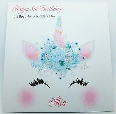 Personalised Birthday Card Unicorn Face Handmade Daughter