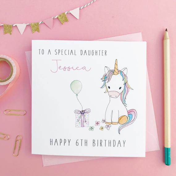 Personalised Unicorn Birthday Card Daughter Birthday Card
