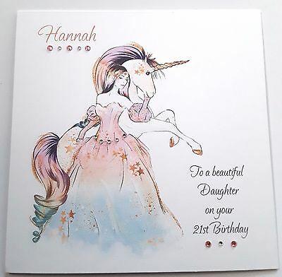 Personalised Unicorn Birthday Card Daughter Niece Granddaughter