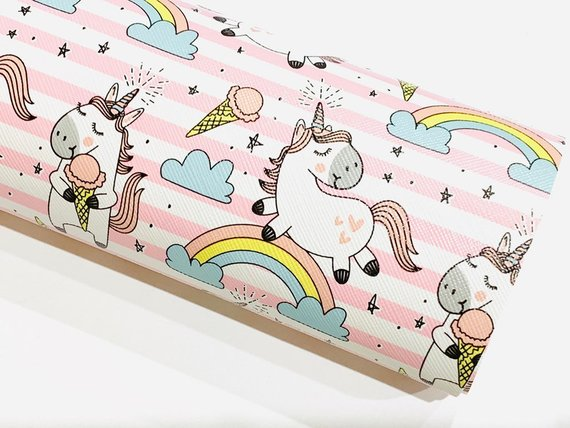 Pink And White Stripe Unicorn Faux Leather Fabric By Oliver And
