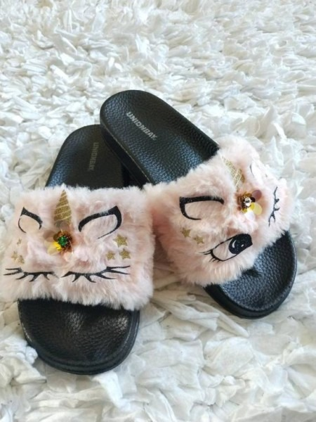 Pink Unicorn Slippers For Women  Women Fur Slides  Unicorn
