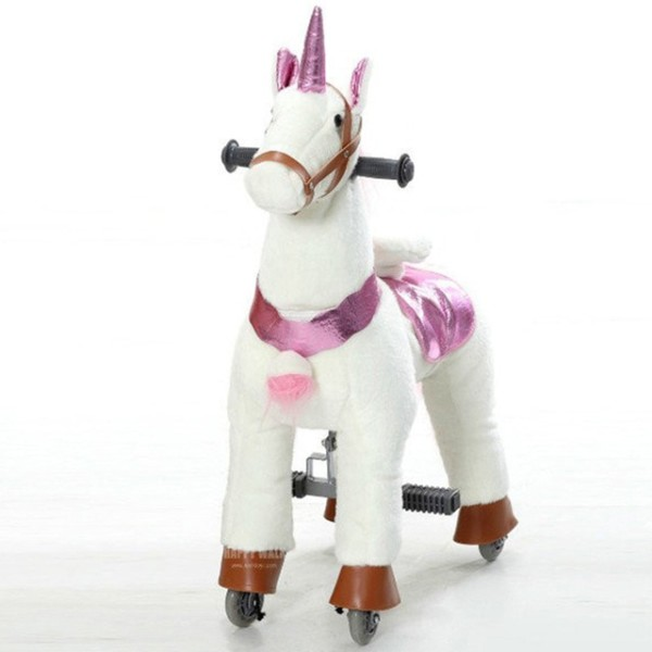 Plush Walking Ride On Horse Toy With Stable Animal Unicorn Ride