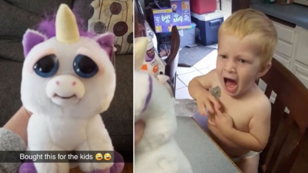 Prankster Mom Terrifies Her Son When Cute Unicorn Toy Suddenly