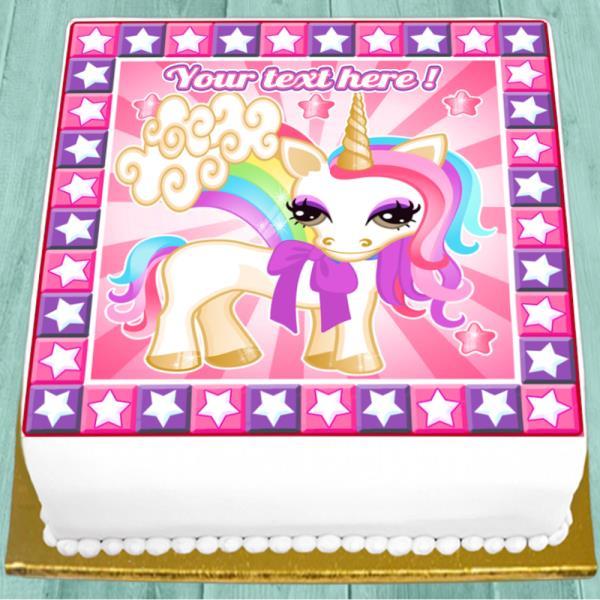 Precut Edible Icing 7 5 Inch Cute Unicorn Personalised Square Cake