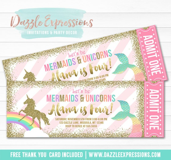 Printable Mermaid And Unicorn Ticket Invitations