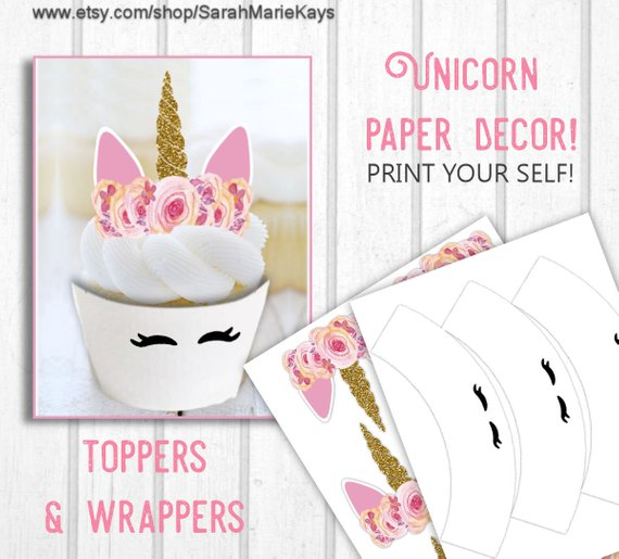 Printable Unicorn Cupcake Toppers And Wrappers Unicorn Print