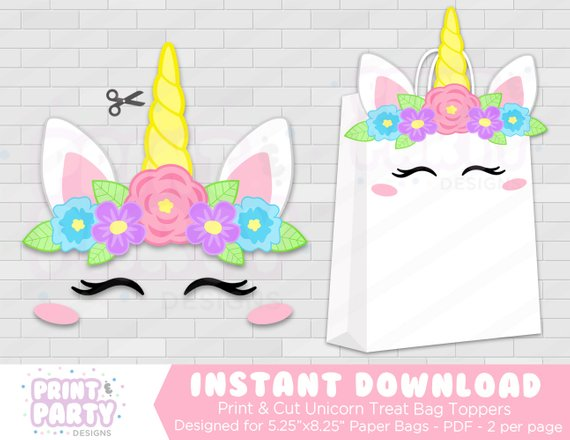 Printable Unicorn Party Favor Bags, Rainbow Unicorn Party, Unicorn