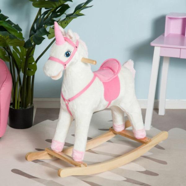 Qaba Kids Plush Rocking Horse Unicorn Ride On Toy Toddler Rocker