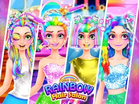 Rainbow Hair Salon Dress Up, Unicorn Hairstyle, Makeup, Dressup