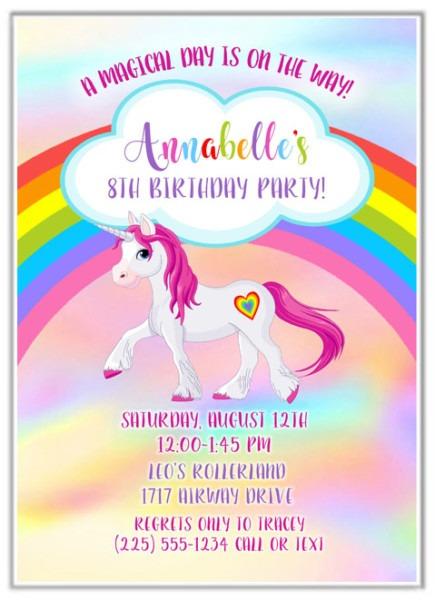Rainbow Unicorn Birthday Party Invitations
