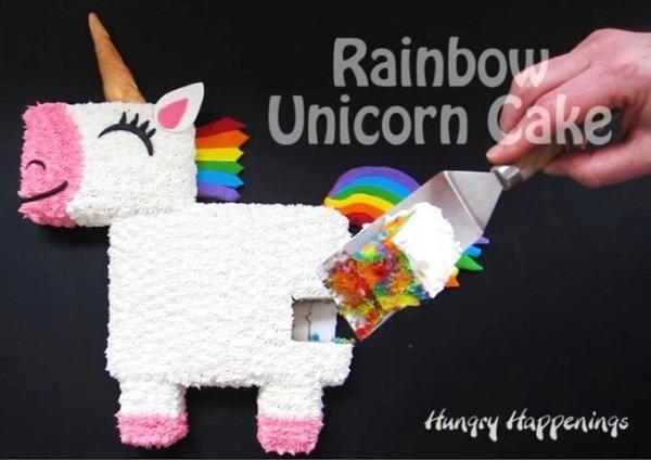 Rainbow Unicorn Cake With Tie