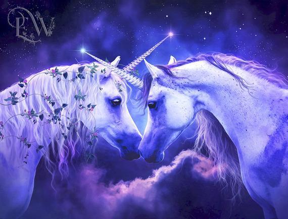 Romantic White Unicorns Fantasy Art Print Horse Portrait Wall