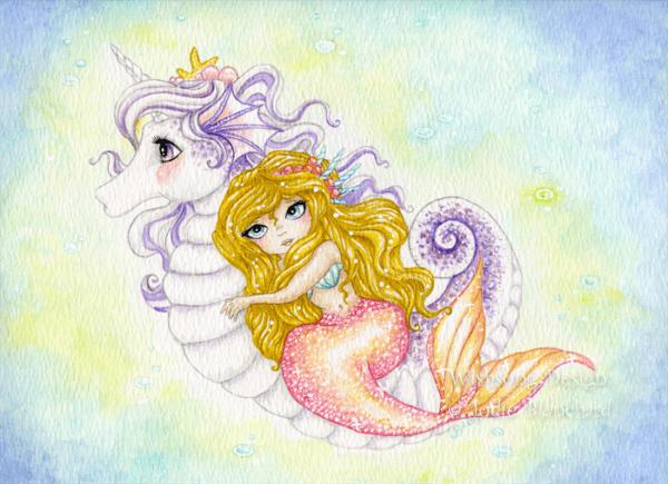Seahorse Unicorn And Mermaid Fine Art Print, 5x7 Inch Print, Kids