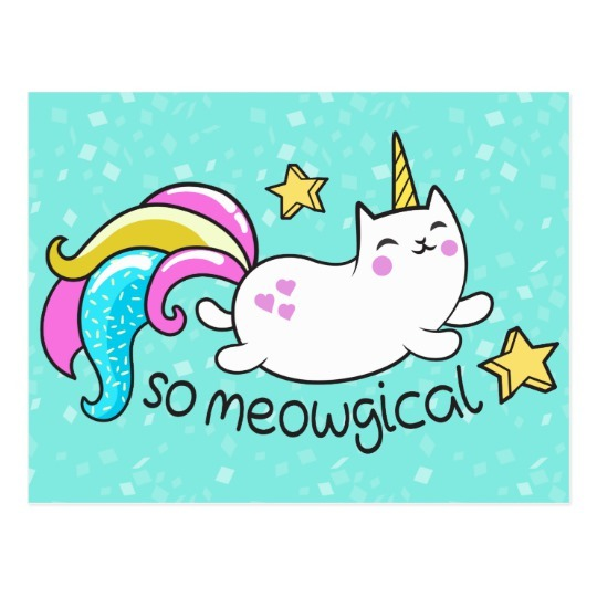 So Meowgical Cute Unicorn Kitty Glitter Sparkles Postcard