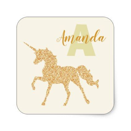 Stylish Gold Glitter Unicorn Custom Name Monogram Square Sticker