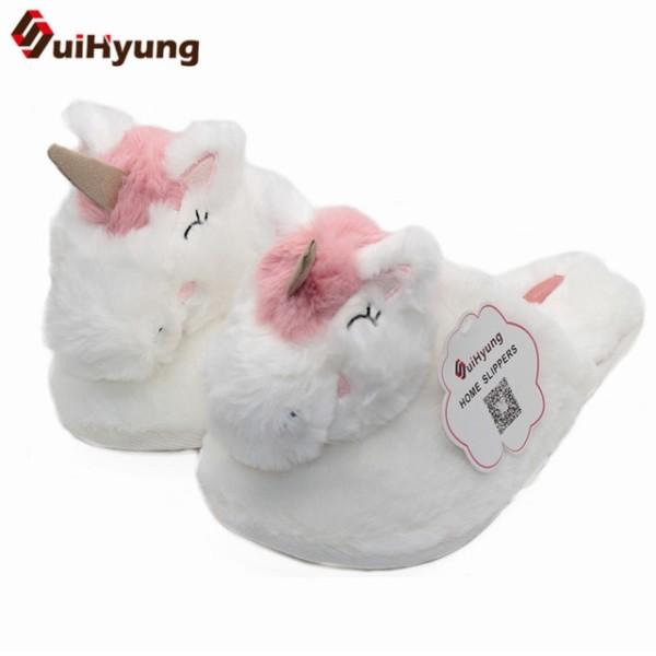 Suihyung New Women Winter Warm Home Plush Slippers White Unicorn