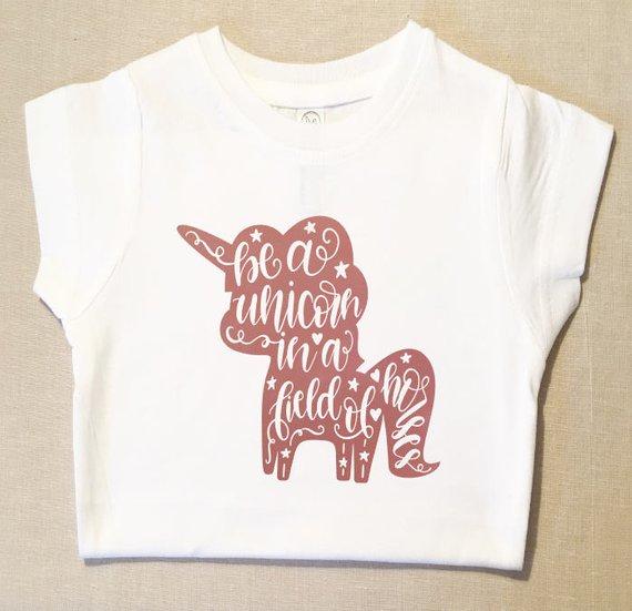 Toddler Girl Unicorn Shirtgirl Unicorn Tee Rose Gold