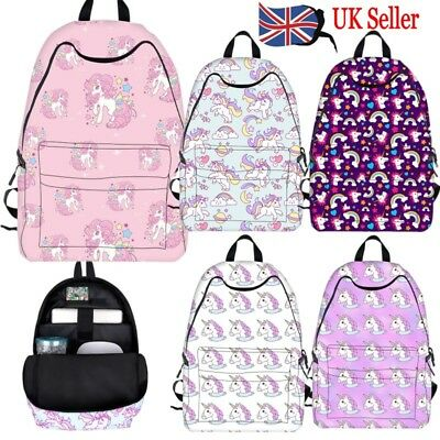 Uk Unicorn Backpacks Kids School Shoulder Bags Nylon Laptop Pony