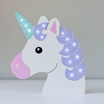 Un0083   Wooden Unicorn Head Led Decoration