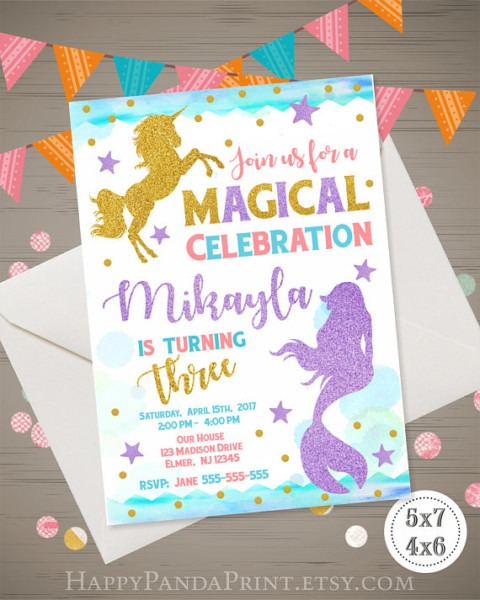 Unicorn And Mermaid Invitation, Magical Birthday Invitation