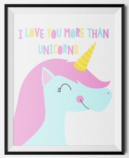 Unicorn Art, Unicorn Nursery, Love Print, Girls Nursery Ideas