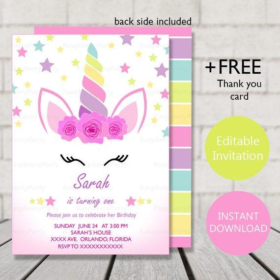 Unicorn Birthday Invitation Instant Download Party Invitation