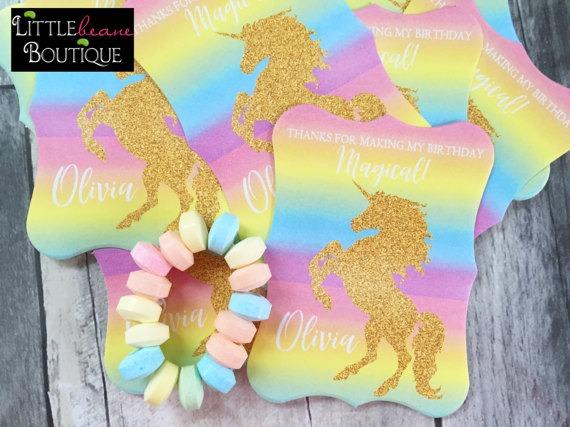 Unicorn Birthday Party, Unicorn Stickers, Unicorn Labels, Gold