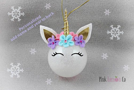 Unicorn Christmas Ornament Personalized Unicorn