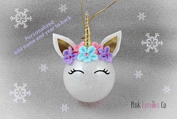 Unicorn Christmas Ornament Personalized Unicorn