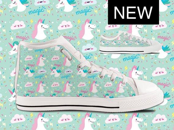 Unicorn Converse Style Custom High Tops Unicorn Shoes With