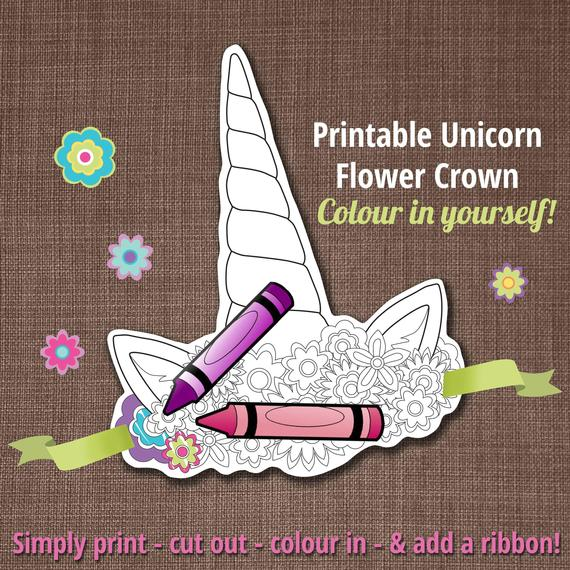 Unicorn Crown Unicorn Flower Crown Printable Crown