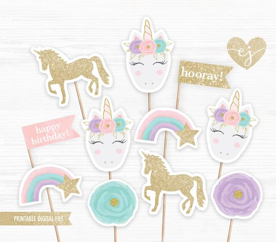 Unicorn Cupcake Toppers Printable Cupcake Toppers Unicorn
