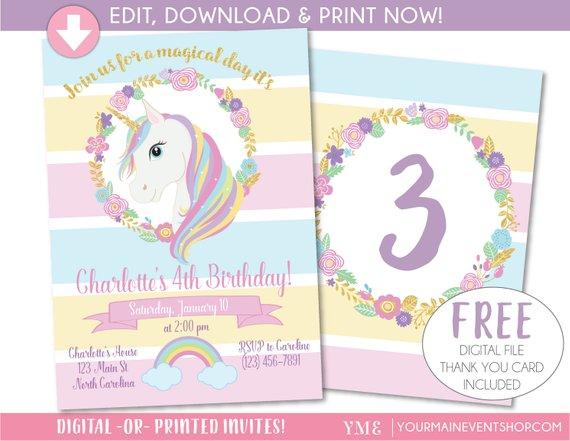Unicorn Invitation, Unicorn Party Invite, Magical Rainbow Unicorn