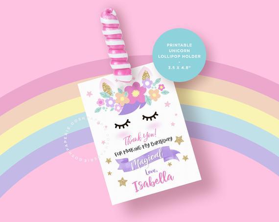 Unicorn Lollipop Holder  Unicorn Favors  Unicorn Birthday Party