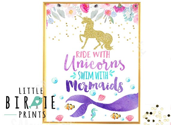 Unicorn Mermaid Party Sign Mermaid Party Sign Unicorn Party Sign