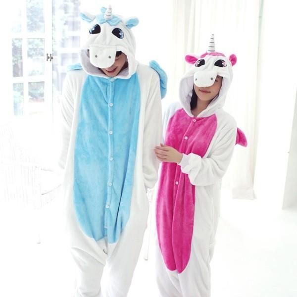 Unicorn Pajamas Sets Unisex Flannel Hoodie Sleepwear Cosplay