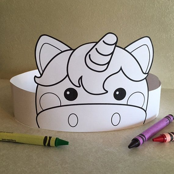 Unicorn Paper Crown Color Your Own