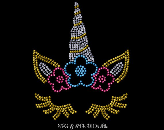 Unicorn Rhinestone Svg Unicorn Svg Unicorn Face Eyelashes
