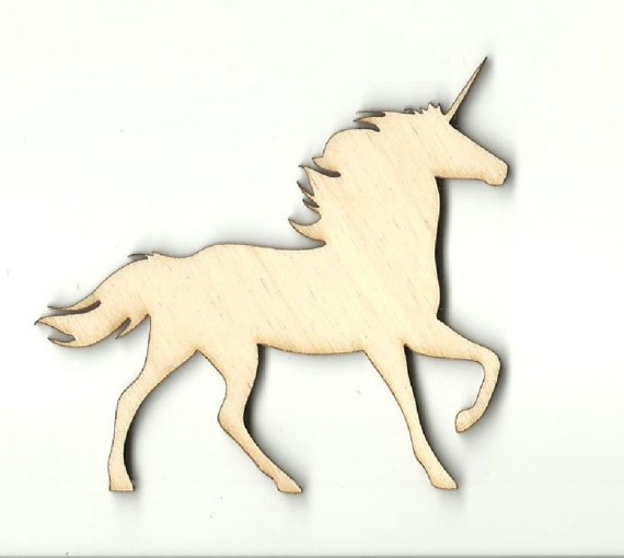 Unicorn Silhouette, Wooden Unicorn Shape, Shape, Cutout, Mouse