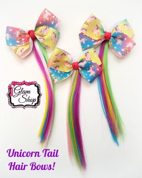 Unicorn Tail Hair Bow (1) Unicorn Party Favors, Birthday Party