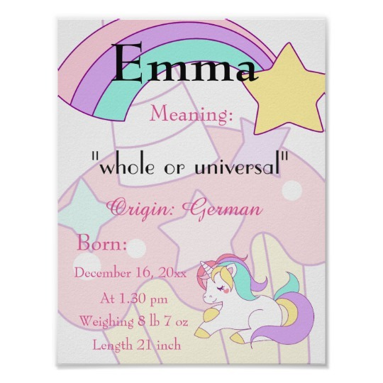Unicorn Themed Name Meaning Keepsake Nursery Poster